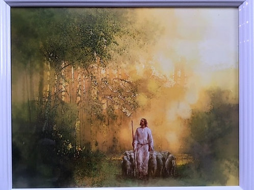 8 x 10 picture frame of Jesus walking with sheep