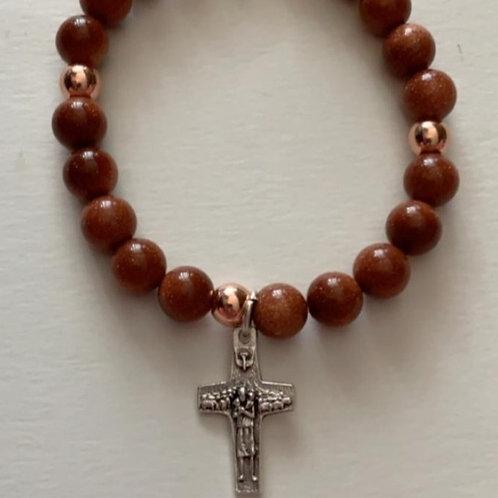 Gem Stone bracelet with Pope Cross