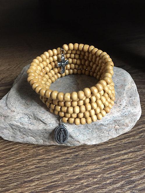 Rosary wood bracelet wrap