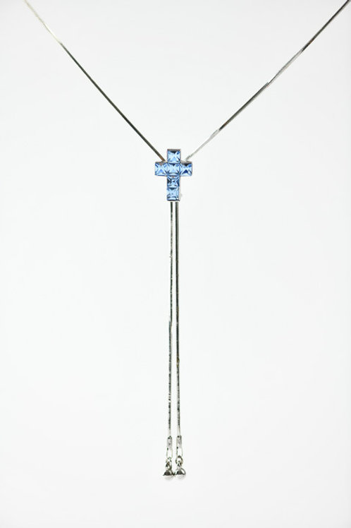 Necklace - with Blue Rhinestone Cross