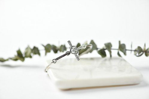 Silver Plated Cross Bangle