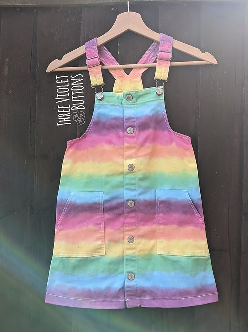 7-8 years :: Hand dyed striped dungaree dress