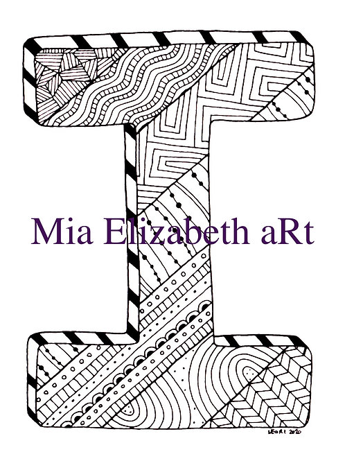 'I' :: print at home colouring-in initial