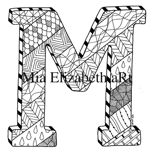 'M' :: print at home colouring-in initial