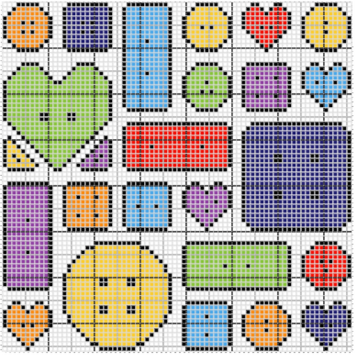 Cute as a Button Cross Stitch Chart :: Printable