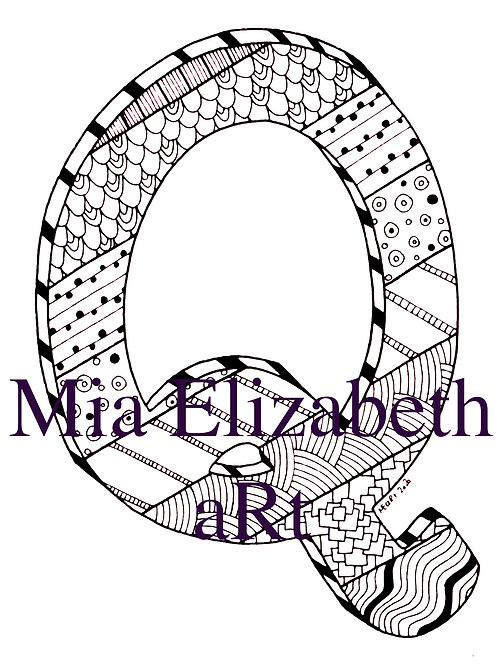 'Q' :: print at home colouring-in initial