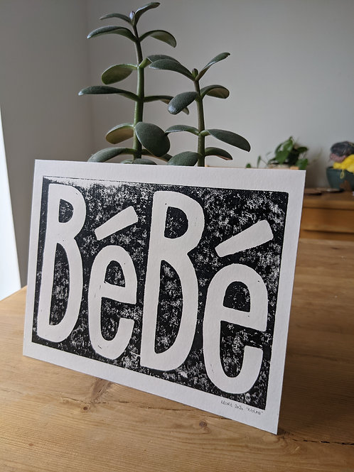 "Bebe :: lino cut print :: original on oil paper :: 9x7"""
