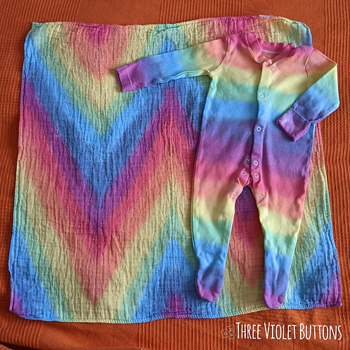 3-6 month sunbow sleep suit & chevron muslin