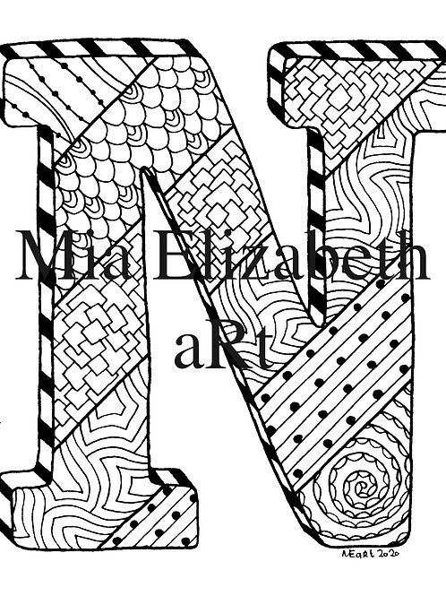 'N' :: print at home colouring-in initial