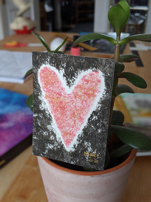 Share the love :: original watercolour & ink ACEO painting :: 2.5x3.5""