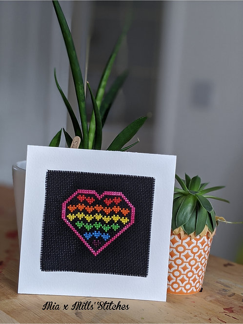 Love hearts finished cross stitch :: 6 x 6""