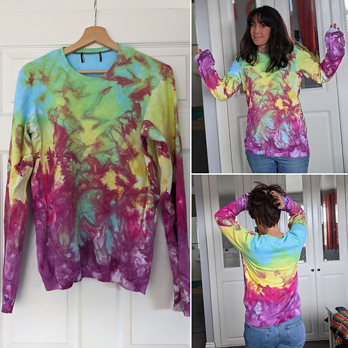 Hand dyed light cotton sweater :: size 8-12