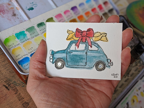 """What we love about Italy :: watercolour & ink mini painting :: 2.5 x 3.5"""""""