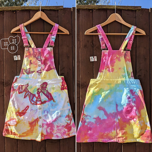 Hand dyed dungaree dress size 8
