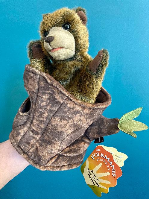 Bear in Tree Stump Hand Puppet (Folkmanis)