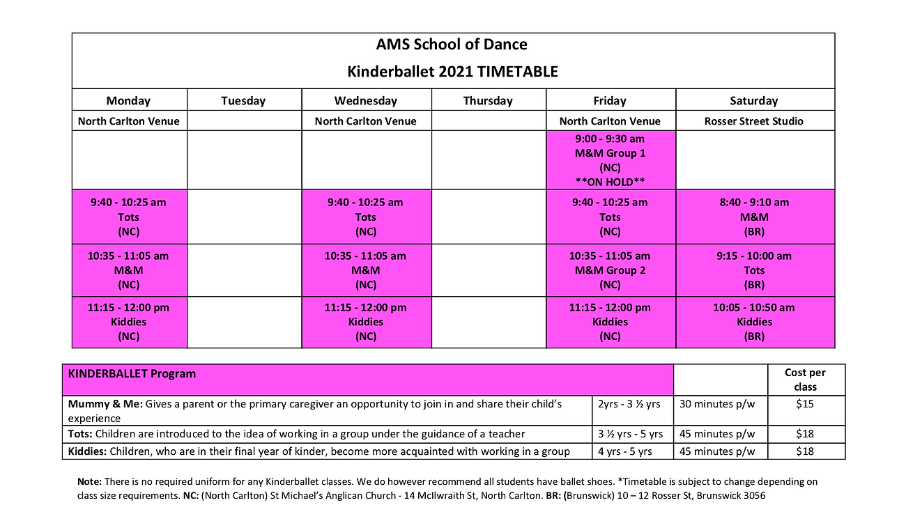 AMS Dance Kinderballet T1 2021 Timetable