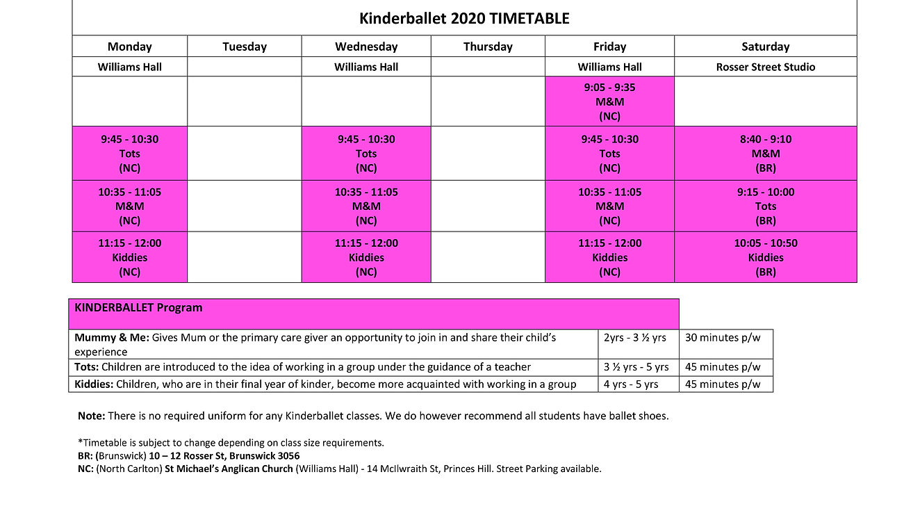 AMS School of Dance - KB 2020 Timetable