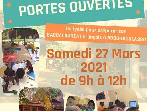 Samedi 27 mars 2021 Portes ouvertes au lycée international français André MALRAUX à Bobo-Dioulasso.