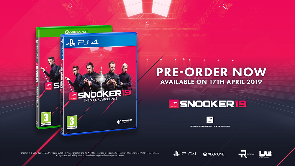 Pre-Order Snooker 19. Available for both Xbox and PS4.
