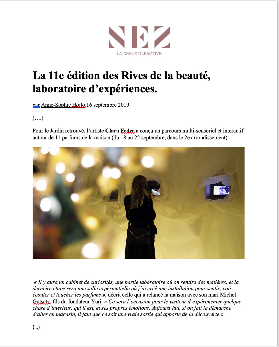 Multisensory installation is featured on Nez-La Revue with an interview of Clara Feder