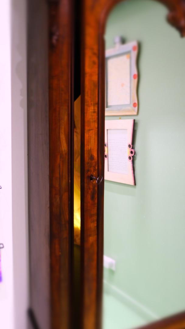 Wardrobe door opens