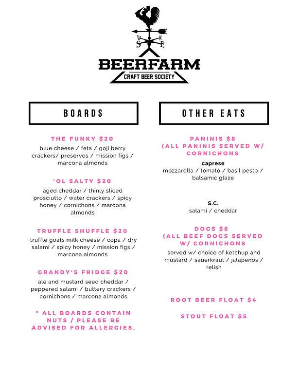 BeerFarm Menu