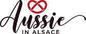 'Aussie in Alsace' logo with a red pretze above the word 'Aussie' in cursive script.
