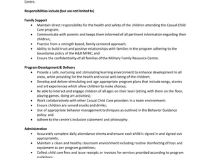 Halifax & Region Military Family Resource Centre - Casual Child Care Provider
