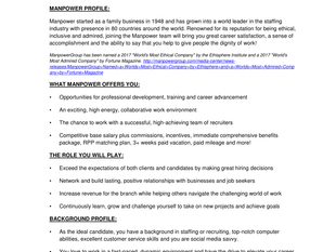 Manpower - Talent Placement Specialist