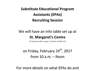 HRSB EPA Recruiting Session