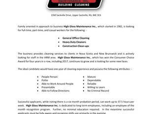 High Gloss Maintenance - General Office Cleaning, Heavy Duty Cleaners, Construction Clean-ups