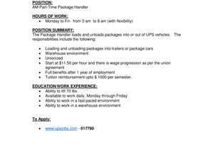 UPS Canada - Part-Time Package Handler
