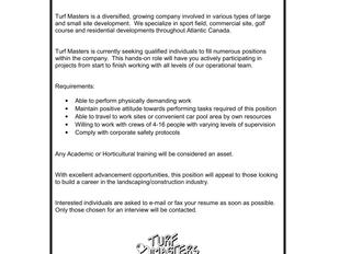 Turf Masters Ltd - Landscape/Construction Labourers