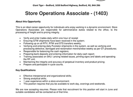 Giant Tiger - Bedford - Store Operations Associate
