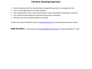 CleanMark - Full Time Cleaning Supervisor