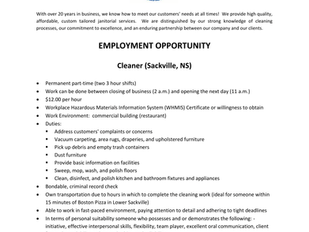 King's Janitorial Company - Cleaner