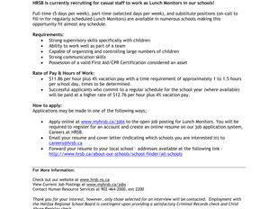 HRSB Lunch Monitors - Five Bridges Junior High (Hubley, NS)