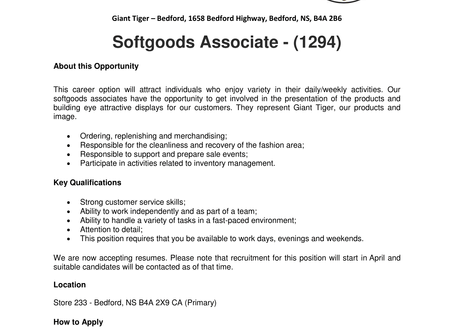 Giant Tiger - Bedford - Softgoods Associate