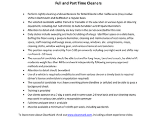 CleanMark - Full & Part Time Cleaners