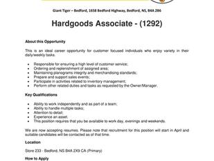 Giant Tiger - Bedford - Hardgoods Associate