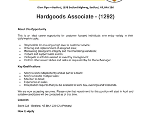 Giant Tiger - Bedford - Hardgoods Associate