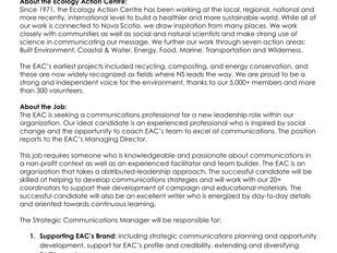 Ecology Action Centre - Strategic Communications Manager