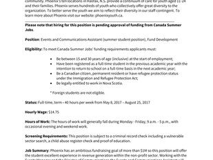 Phoenix - Events and Communications Assistant (Summer Student Position)