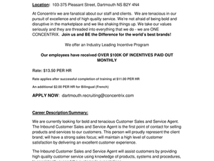 Concentrix - Customer Sales and Service Agent (Bilingual)