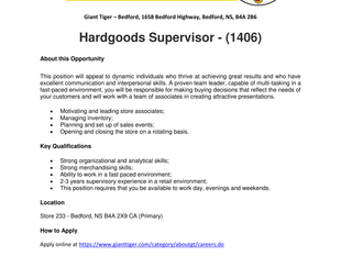 Giant Tiger - Bedford - Hardgoods Supervisor