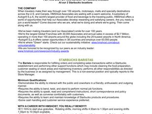 Starbucks - Halifax Stanfield International Airport - Barista Positions