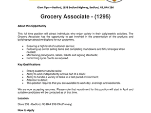 Giant Tiger - Bedford - Grocery Associate