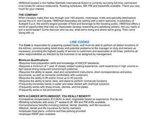 HMSHost - Line Cook Positions
