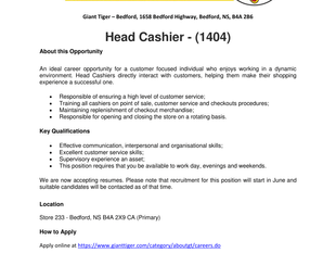 Giant Tiger - Bedford - Head Cashier