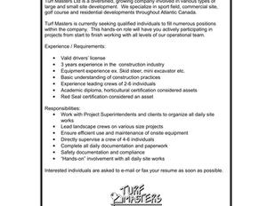 Turf Masters Ltd - Landscape/Construction Foreman
